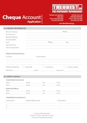 cheque account application